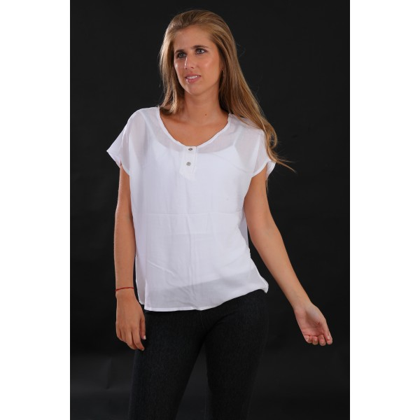Blusa manga corta fibrana 2 botones blanco