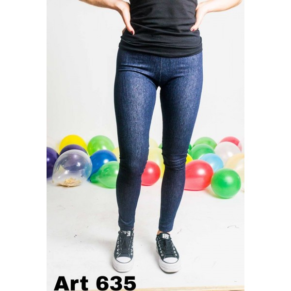 Calza simil jean azul