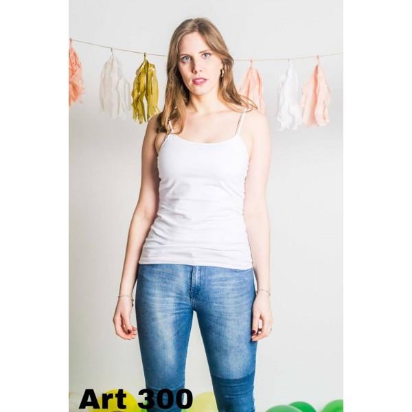 Musculosa algodon con lycra bretel regulable blanca