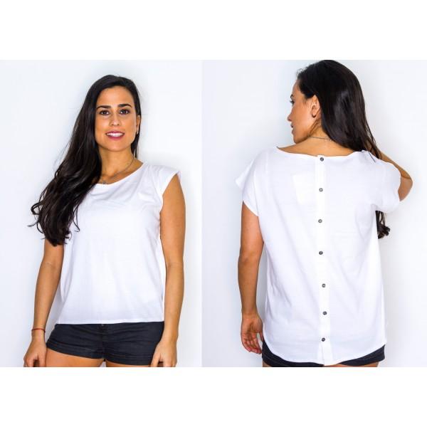 Remera manga corta jersey con botones en la espalda blanco