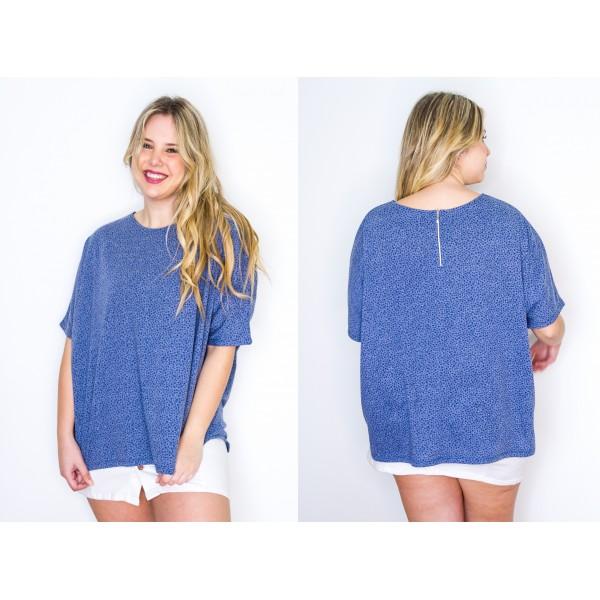 Remeron manga corta jersey estampado azul con cierre en la espalda