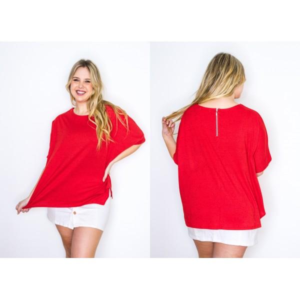 Remeron manga corta jersey butone rojo con cierre en la espalda