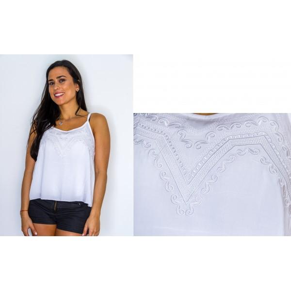 Blusa sin manga fibrana bretel blanco con bordado