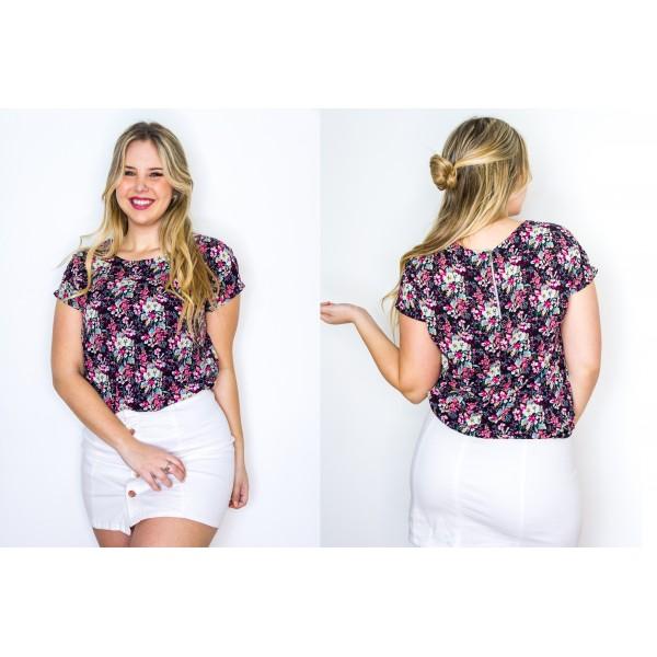 Blusa manga corta fibrana cierre en la espalda negro estampado flores chicas